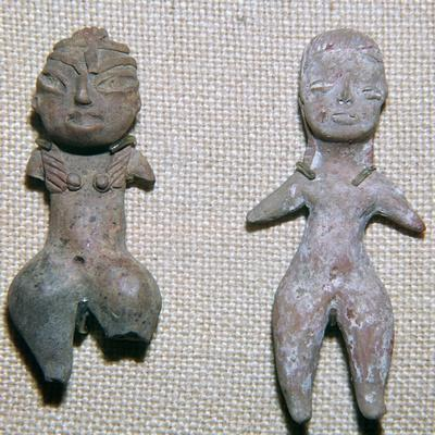 Mexican pottery figures from burial sites, c.9th century BC-Unknown-Framed Giclee Print