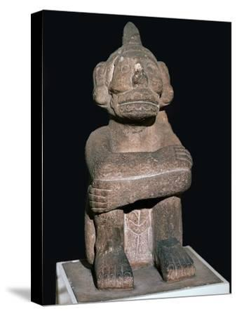 Pre-Columbian pottery statuette of the Mayan god Mictantecuan-Unknown-Stretched Canvas Print