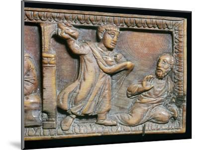Ivory panel showing the stoning of St Paul, 4th century-Unknown-Mounted Giclee Print