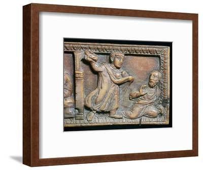 Ivory panel showing the stoning of St Paul, 4th century-Unknown-Framed Giclee Print