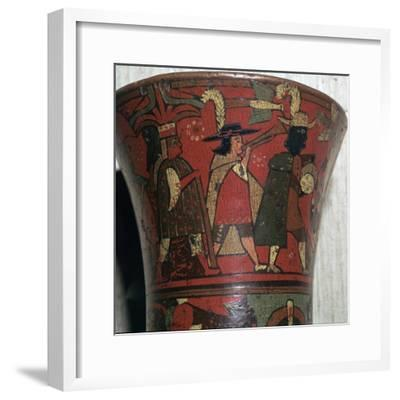 Incan beaker showing Spaniards and Peruvians, c.17th century-Unknown-Framed Giclee Print