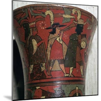 Incan beaker showing Spaniards and Peruvians, c.17th century-Unknown-Mounted Giclee Print