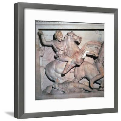 Alexander Sarcophagus, showing Alexander the Great in battle, 4th century-Unknown-Framed Giclee Print