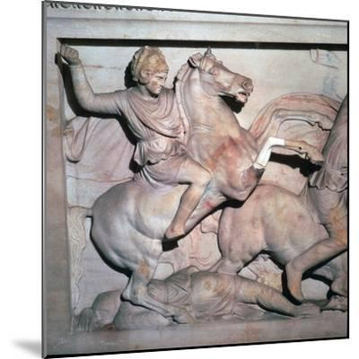 Alexander Sarcophagus, showing Alexander the Great in battle, 4th century-Unknown-Mounted Giclee Print