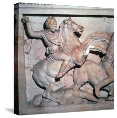 Alexander Sarcophagus, showing Alexander the Great in battle, 4th century-Unknown-Stretched Canvas Print