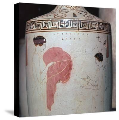 Detail of a Greek lekythos showing a mistress and maid, 5th century BC-Unknown-Stretched Canvas Print