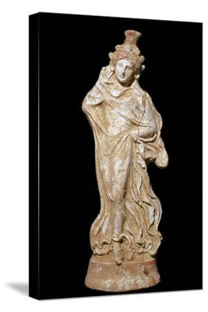 Greek terracotta of a woman in a flowing dress-Unknown-Stretched Canvas Print