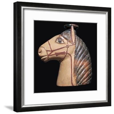 Terracotta scent bottle in the shape of a horse's head-Unknown-Framed Giclee Print