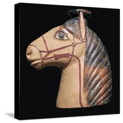 Terracotta scent bottle in the shape of a horse's head-Unknown-Stretched Canvas Print