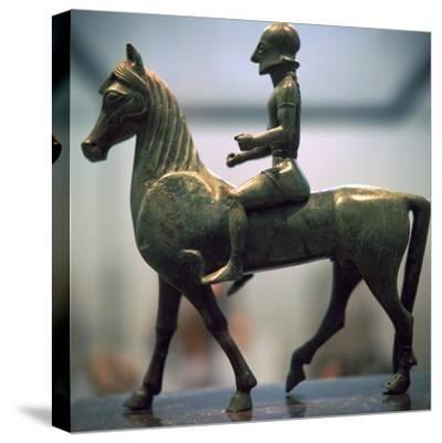 Greek bronze of a horseman-Unknown-Stretched Canvas Print