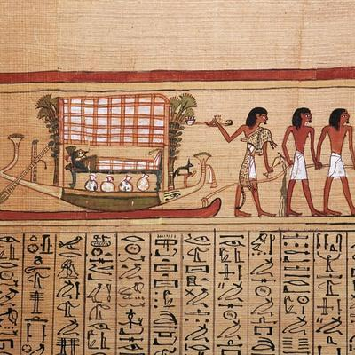 Egyptian papyrus depicting taking the mummy to the necropolis, 13th century BC-Unknown-Framed Giclee Print