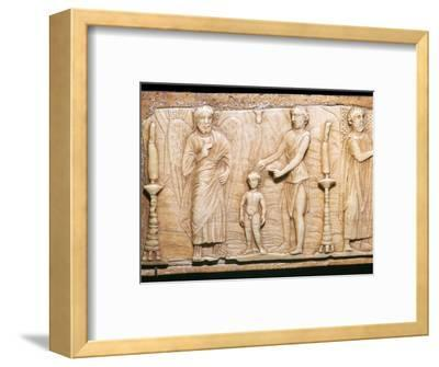Byzantine ivory panel showing Christ's baptism, 5th century-Unknown-Framed Giclee Print