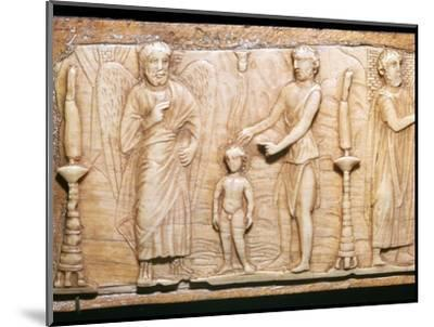 Byzantine ivory panel showing Christ's baptism, 5th century-Unknown-Mounted Giclee Print
