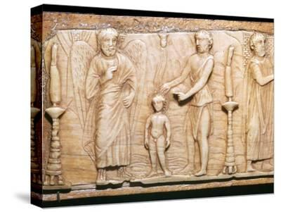 Byzantine ivory panel showing Christ's baptism, 5th century-Unknown-Stretched Canvas Print