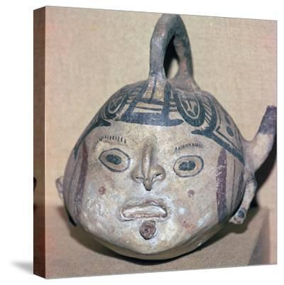 Huaxtec culture spouted jug painted with a human face-Unknown-Stretched Canvas Print