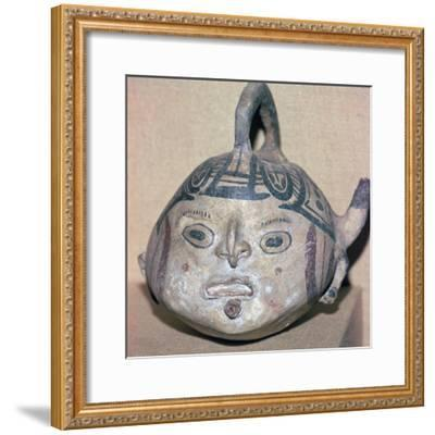 Huaxtec culture spouted jug painted with a human face-Unknown-Framed Giclee Print