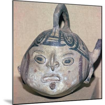 Huaxtec culture spouted jug painted with a human face-Unknown-Mounted Giclee Print