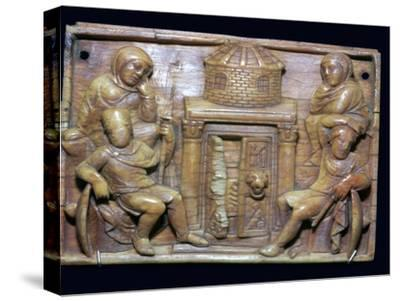 Byzantine ivory panel showing the tomb of Jesus on Easter morning, 5th century-Unknown-Stretched Canvas Print