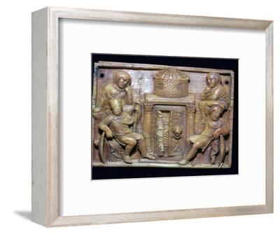 Byzantine ivory panel showing the tomb of Jesus on Easter morning, 5th century-Unknown-Framed Giclee Print