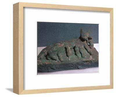 Egyptian bronze of a cat and kittens-Unknown-Framed Giclee Print