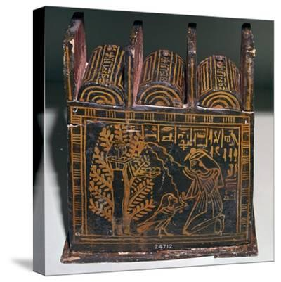 Egyptian painted shabti-box of Anhai-Unknown-Stretched Canvas Print