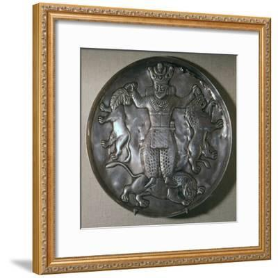Sassanian dish showing a king holding lions-Unknown-Framed Giclee Print
