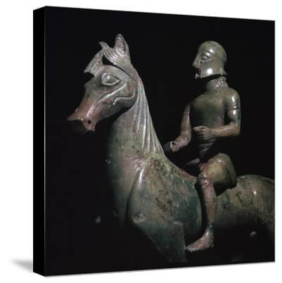 Detail of a Greek bronze of a horseman-Unknown-Stretched Canvas Print