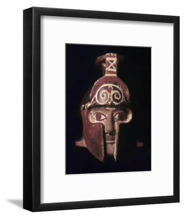 Greek terracotta scent bottle in the shape of a helmeted head, 6th century BC-Unknown-Framed Giclee Print