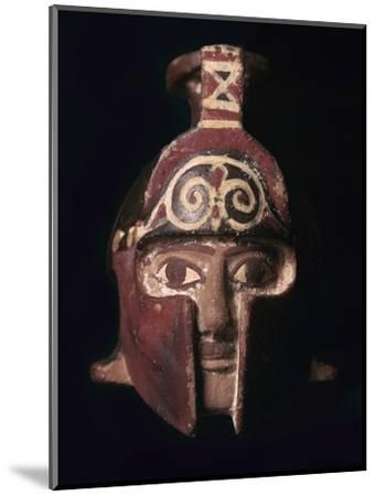 Greek terracotta scent bottle in the shape of a helmeted head, 6th century BC-Unknown-Mounted Giclee Print