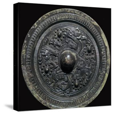 Chinese bronze mirror with figures of the Taoist gods, 2nd century-Unknown-Stretched Canvas Print