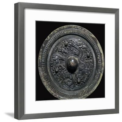 Chinese bronze mirror with figures of the Taoist gods, 2nd century-Unknown-Framed Giclee Print