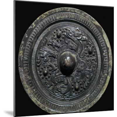 Chinese bronze mirror with figures of the Taoist gods, 2nd century-Unknown-Mounted Giclee Print