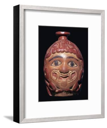 Greek terracotta scent bottle in the shape of a gorgon's head made in Rhodes-Unknown-Framed Giclee Print