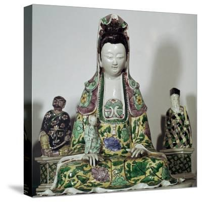 Statuette Chinese of Kuan-Yin, 17th century-Unknown-Stretched Canvas Print