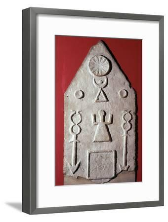 Limestone stela with a dedication to Baal, from Carthage, north Africa, 2nd-1st century BC-Unknown-Framed Giclee Print