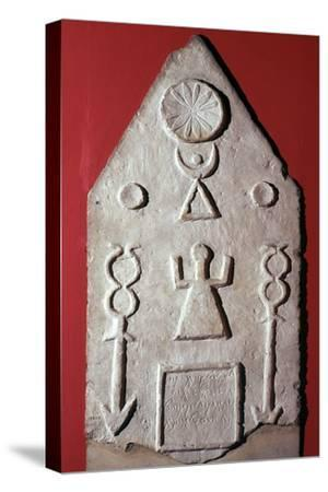 Limestone stela with a dedication to Baal, from Carthage, north Africa, 2nd-1st century BC-Unknown-Stretched Canvas Print