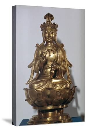A gilt-bronze statuette of a Bodhisattva on a lotus leaf, 10th century-Unknown-Stretched Canvas Print