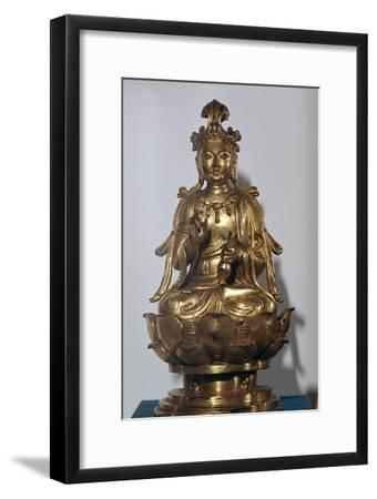 A gilt-bronze statuette of a Bodhisattva on a lotus leaf, 10th century-Unknown-Framed Giclee Print