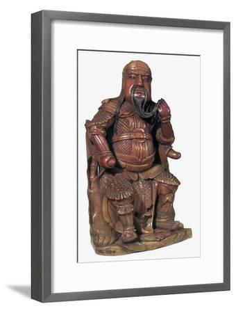 Soapstone Chinese statuette of Kuan-ti, 17th century-Unknown-Framed Giclee Print