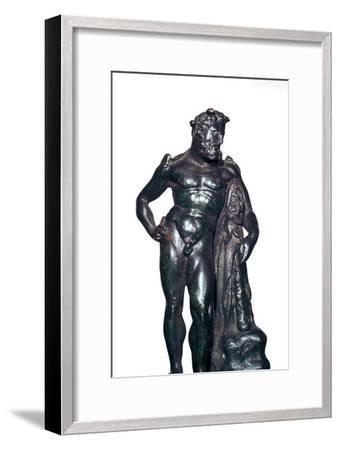 Roman bronze statuette of Hercules with his lion skin and club, 1st-2nd century BC-Unknown-Framed Giclee Print