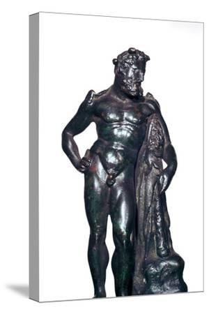 Roman bronze statuette of Hercules with his lion skin and club, 1st-2nd century BC-Unknown-Stretched Canvas Print