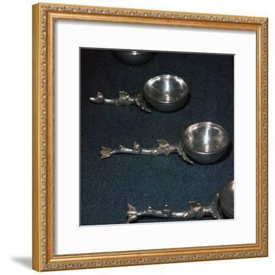 Roman silver and gilt ladles with handles cast in the form of dolphins, 4th century-Unknown-Framed Giclee Print