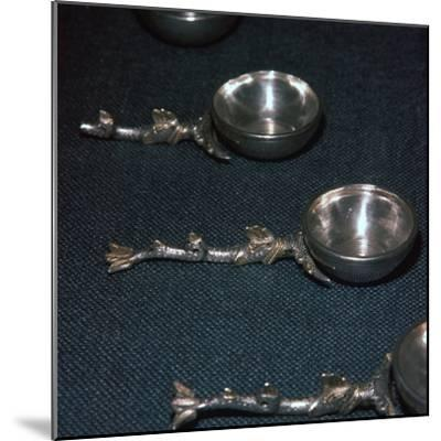 Roman silver and gilt ladles with handles cast in the form of dolphins, 4th century-Unknown-Mounted Giclee Print