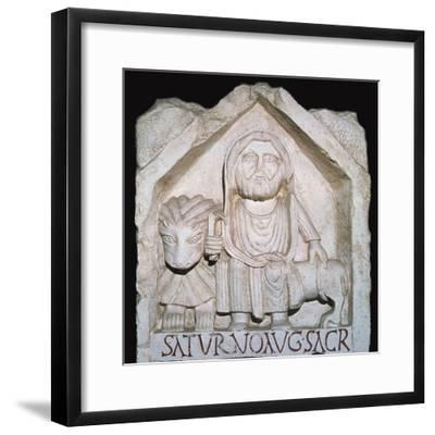 Detail of a Neo-Punic relief dedicated to the god Saturn showing a priest-Unknown-Framed Giclee Print
