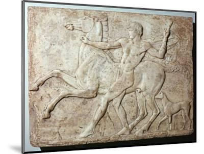 Marble Roman relief of a boy and a horse, Hadrian's villa, 1st century-Unknown-Mounted Giclee Print