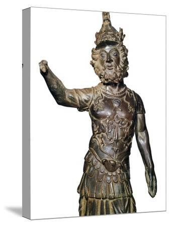 Roman bronze statuette of the god Mars, 2nd century-Unknown-Stretched Canvas Print