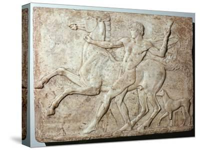 Marble Roman relief of a boy and a horse, Hadrian's villa, 1st century-Unknown-Stretched Canvas Print