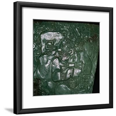 Jade Maya carving of a seated dignitary-Unknown-Framed Giclee Print