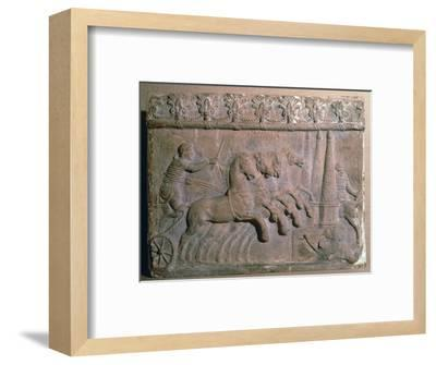Roman terracotta panel showing a racing chariot-Unknown-Framed Giclee Print