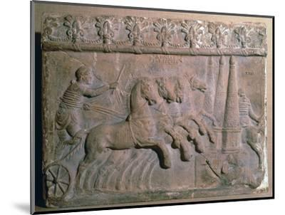 Roman terracotta panel showing a racing chariot-Unknown-Mounted Giclee Print